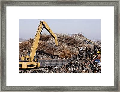 Excavator Moving Scrap Metal With Electro Magnet Framed Print by Jeremy Woodhouse