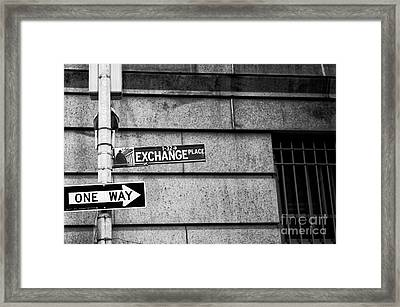 Exchange Place Framed Print by John Rizzuto