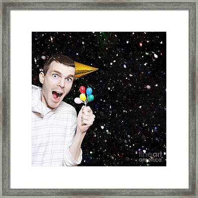 Excited Boy In Confetti Celebrating Birthday Party Framed Print by Jorgo Photography - Wall Art Gallery