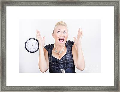 Excited Business Woman Meeting Time Schedule  Framed Print by Jorgo Photography - Wall Art Gallery