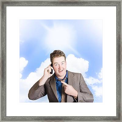 Excited Man On Mobile Phone. Yes Got The Job Framed Print by Jorgo Photography - Wall Art Gallery