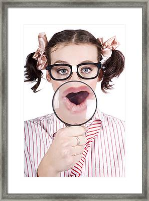 Excited Nerd Girl With A Big Idea Framed Print