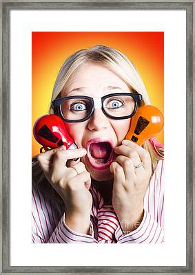 Excited Nerd Girl With Ideas To Innovate Framed Print by Jorgo Photography - Wall Art Gallery