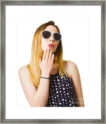 Excited Pinup Girl With Expression Of Surprise Framed Print
