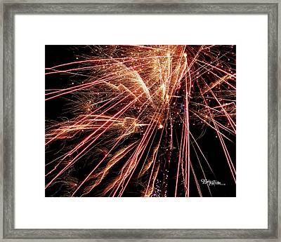 Framed Print featuring the photograph Exciting Fireworks #0734 by Barbara Tristan