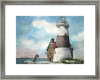 Framed Print featuring the painting Execution Rocks Lighthouse by Susan Herbst