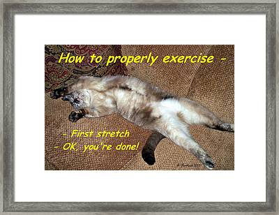 Framed Print featuring the photograph Exercise 101 by Betty Northcutt