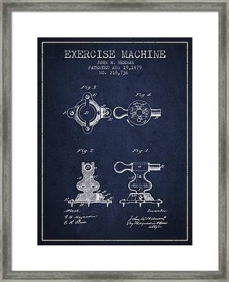 Exercise Machine Patent From 1879 - Navy Blue Framed Print by Aged Pixel