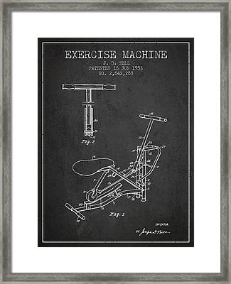 Exercise Machine Patent From 1953 - Charcoal Framed Print