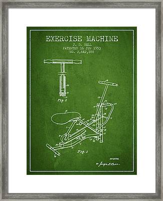 Exercise Machine Patent From 1953 - Green Framed Print by Aged Pixel