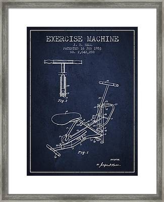 Exercise Machine Patent From 1953 - Navy Blue Framed Print