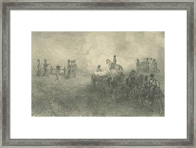 Exercises Of The Artillery In Milligen Framed Print