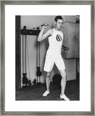 Exercising With Weights 2 Framed Print by Underwood Archives