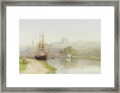 Exeter Canal Below Exeter Cathedral Framed Print by Arthur Henry Enock