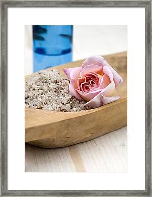 Exfoliating Body Scrub From Sea Salt And Rose Petals Framed Print