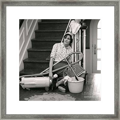 Exhausted Woman With Cleaning Framed Print by H. Armstrong Roberts/ClassicStock