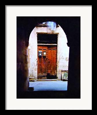 Medieval Entrance Mixed Media Framed Prints