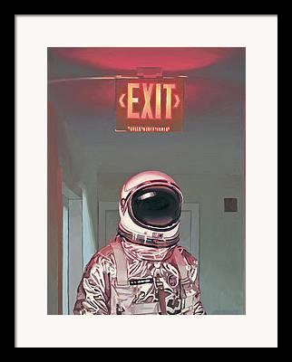 Exit Sign Framed Prints