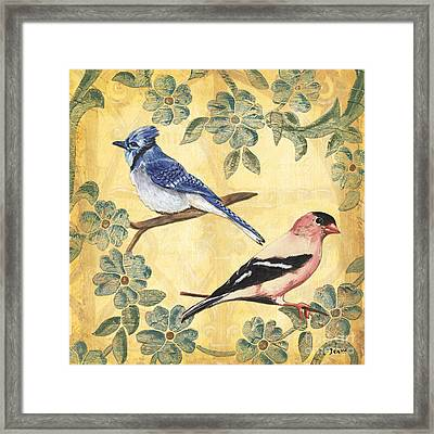 Exotic Bird Floral And Vine 1 Framed Print