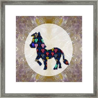 Exotic Cute Horse Abstract Graphic Filled Cartoon Humor Faces Download Option  Personal Commercial  Framed Print