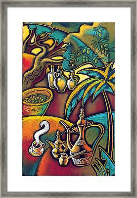 Exotic East, Coffee And Olive Oil Framed Print by Leon Zernitsky