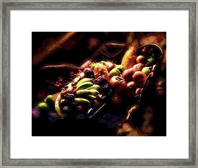 Exotic Fruit Platter Framed Print by Peter Hogg