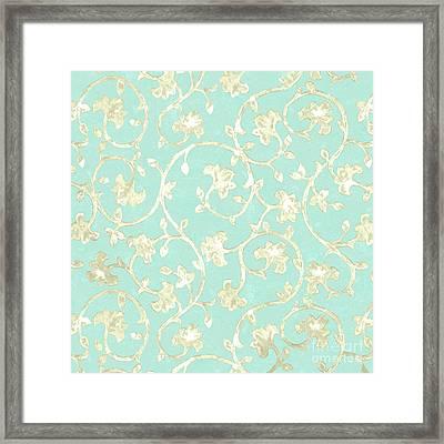 Exotic Golden Baroque Floral Damask Pattern, Robin's Egg Blue Framed Print