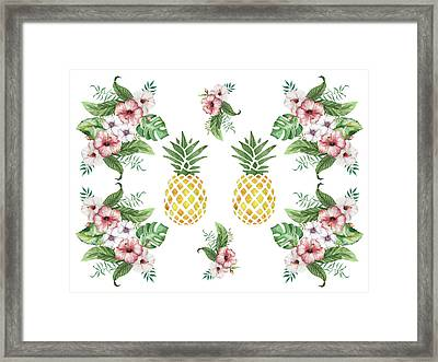 Framed Print featuring the painting Exotic Hawaiian Flowers And Pineapple by Georgeta Blanaru