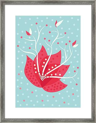 Exotic Pink Flower And Dots Framed Print by Boriana Giormova