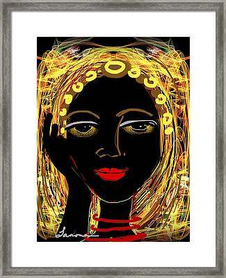 Framed Print featuring the digital art Exotic Woman by Elaine Lanoue