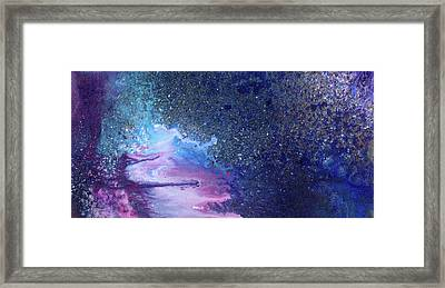 Expanding The Space - Contemporay Blue Vibrant Abstract Painting Framed Print by Modern Art Prints