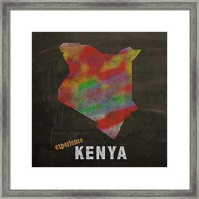 Experience Kenya Map Hand Drawn Country Illustration On Chalkboard Vintage Travel Promotional Poster Framed Print