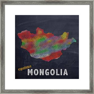Experience Mongolia Map Hand Drawn Country Illustration On Chalkboard Vintage Travel Promotional Pos Framed Print by Design Turnpike