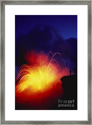Exploding Lava And Person Framed Print by Greg Vaughn - Printscapes