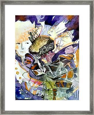 Exploiding Nut Framed Print by Mindy Newman