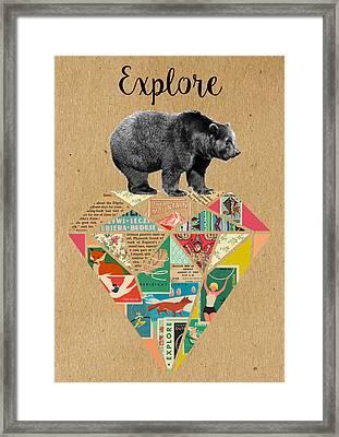 Explore Bear  Framed Print by Claudia Schoen