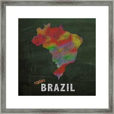 Explore Brazil Map Hand Drawn Country Illustration On Chalkboard Vintage Travel Promotional Poster Framed Print by Design Turnpike