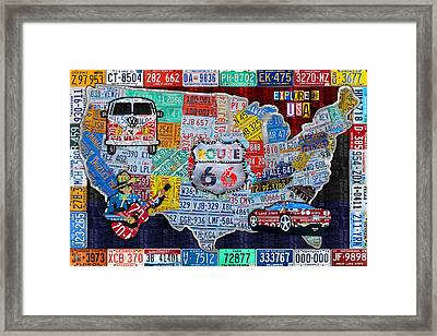 Explore The Usa License Plate Art And Map Travel Collage Framed Print by Design Turnpike