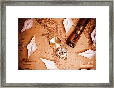 Explorer Desk With Compass, Map And Spyglass Framed Print by Jorgo Photography - Wall Art Gallery