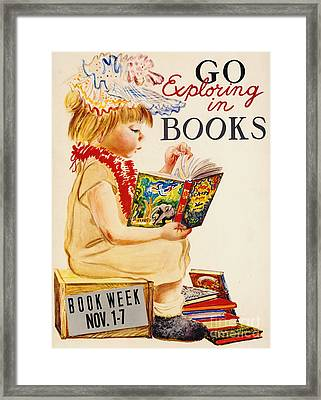 Framed Print featuring the photograph Exploring Books 1961 by Padre Art