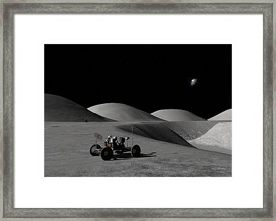 Framed Print featuring the digital art Exploring Hadley Rille by David Robinson