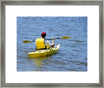 Framed Print featuring the photograph Exploring In A Kayak by Sandi OReilly