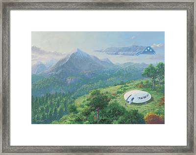 Framed Print featuring the digital art Exploring New Landscape Spaceship by Martin Davey
