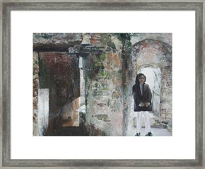Exploring The Ruins Framed Print