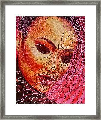 Expression In Hair Framed Print by Shahid Muqaddim