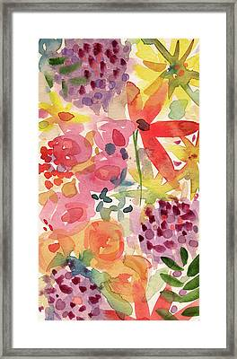 Expressionist Fall Garden- Art By Linda Woods Framed Print