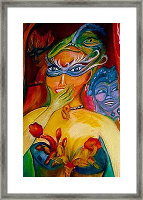 Expressions Of Mardi Gras Framed Print by Sidra Myers