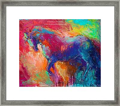 Expressive Stallion Painting By Framed Print