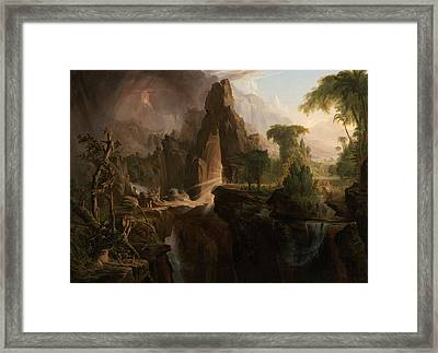 Expulsion From The Garden Of Eden Framed Print by Thomas Cole