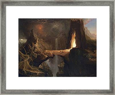 Expulsion Moon And Firelight Framed Print by Thomas Cole
